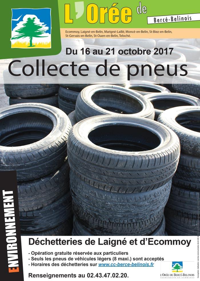 Affiche sur la collecte des pneus du 16 au 21 octobre 2017
