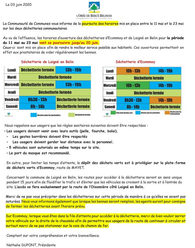 Prolongement de la réouverture et des nouveaux horaires des déchetteries d'Ecommoy et de Laigné en Belin jusqu'au 20 juin 2020